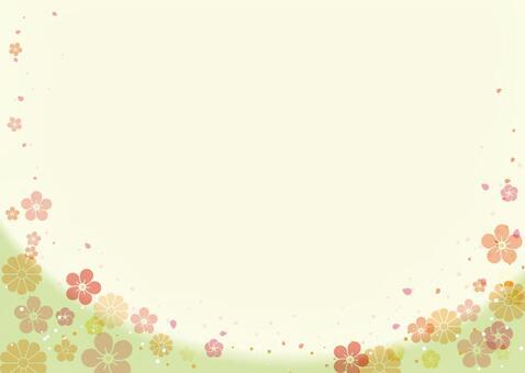 Japanese-style background green (plum, chrysanthemum) sideways