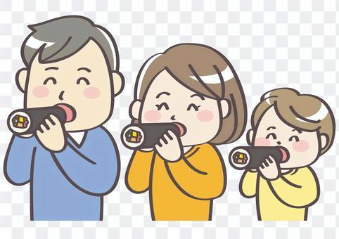Setsubun 3_ Family eating Ehomaki