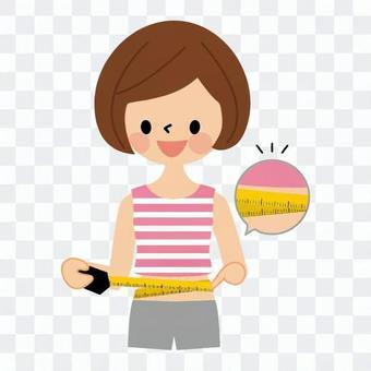 女子測量腰圍