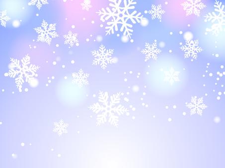 雪和雪花紫色背景