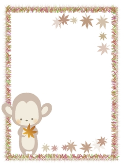 Frame illustration of monkey with autumn leaves No line