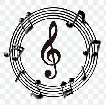 Musical note logo monochrome