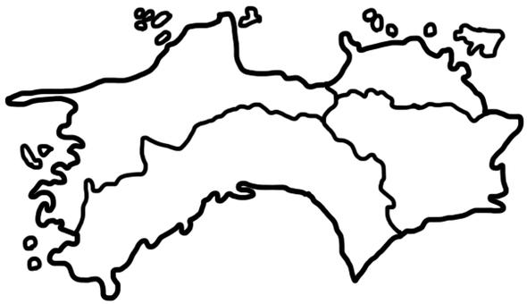 Shikoku white map drawing
