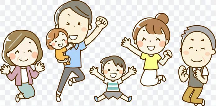 ジャンプする家族 6人家族