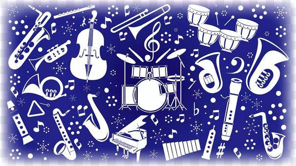 在冬季16:9大小的樂器剪影