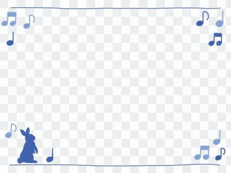 Crayon frame with blue rabbit and mp