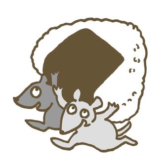 拿著飯糰的老鼠