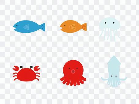 海洋生物簡單圖案