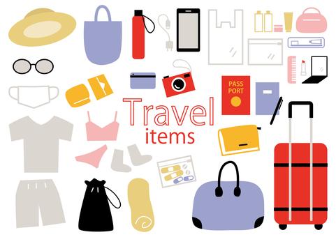 Travel item illustration set_color