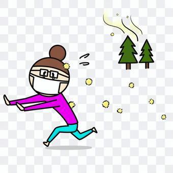 Woman running away from pollen