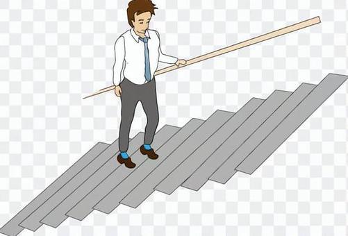手摺りを持って階段を上がる男性