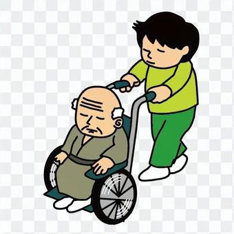 人们推着轮椅