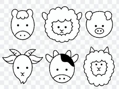 Handwritten animal icon set