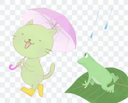 多雨的貓和青蛙