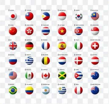 世界國旗圖標集球形