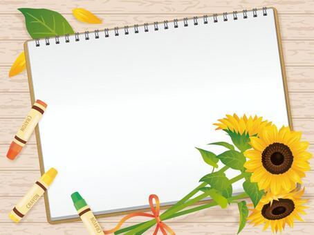 速寫本,蠟筆和向日葵背景A