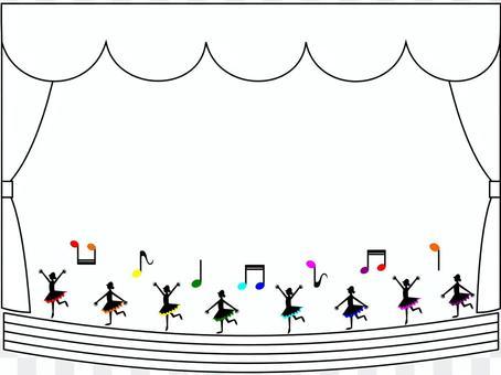 Odoriko on the stage of the staff score Rainbow (background · white)