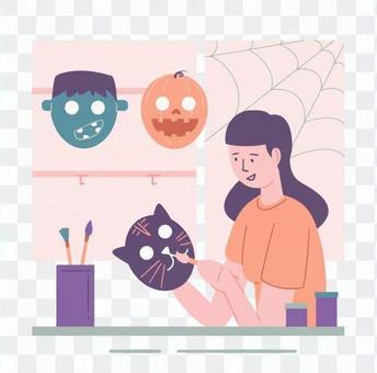 製作面具的女人