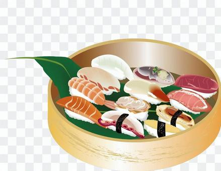 寿司 桶 盛り合わせ サーモン