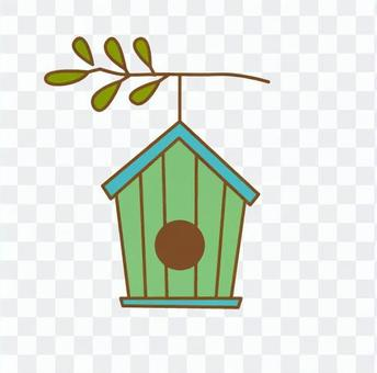 Aviary hanging from twig