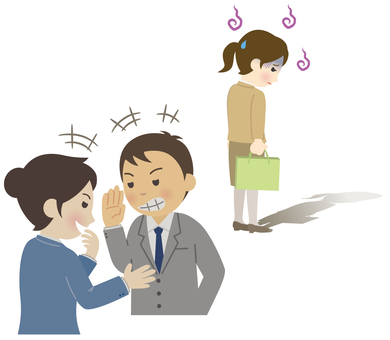 Female employee receiving mobbing from a colleague