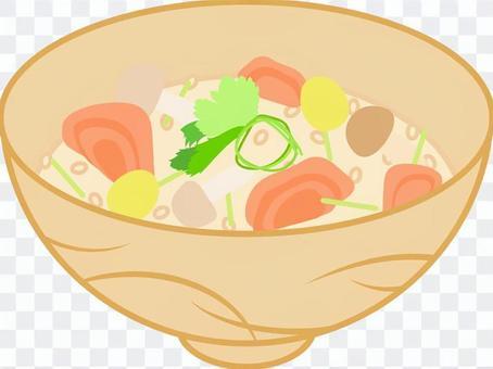 三文魚煮熟的米飯