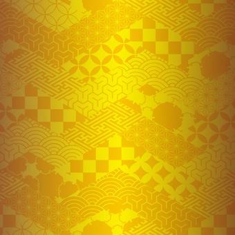 Edo pattern mosaic gold