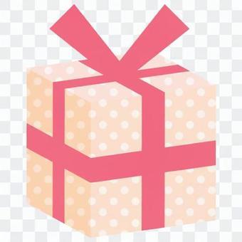 禮物盒(固體)粉紅色·點