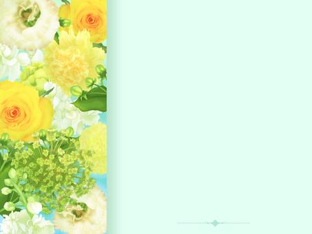 花框、明信片、背景(黃綠色)