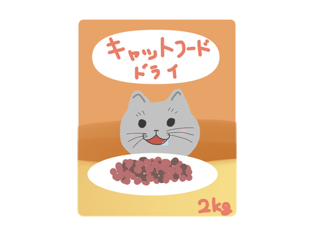 Cat food dry cat illustration
