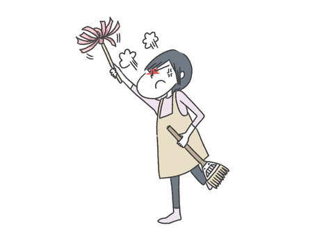 Frustrated and cleaning mother / get angry
