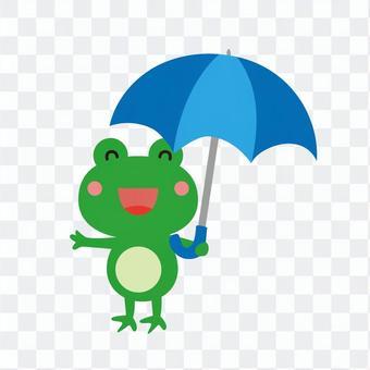 青い傘を持つ蛙