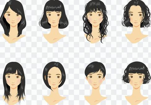 女髮型各種黑頭髮