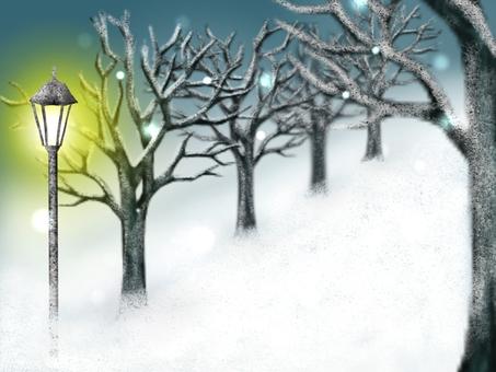 Streetlights and snowy tree-lined roads