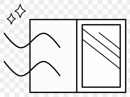 白黒のシンプルな窓の換気 PNG