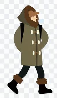 一個男人在寒冷中行走