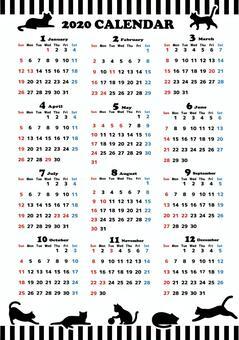 2020年度日曆貓剪影