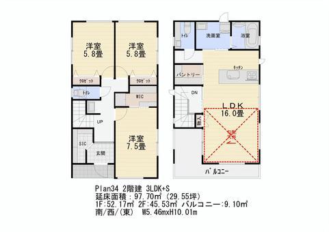 間取り図No34 2階建 3LDK+S