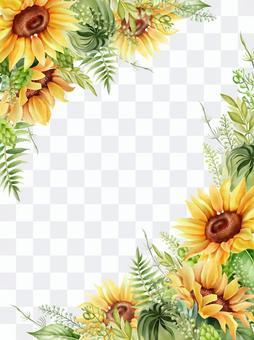 向日葵水彩框架垂直構圖