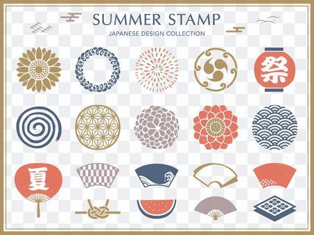 為夏季和盂蘭盆節設置的日式符號框架
