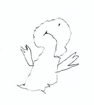 [아이의 낙서 바람] 비행 조류 (흑백)