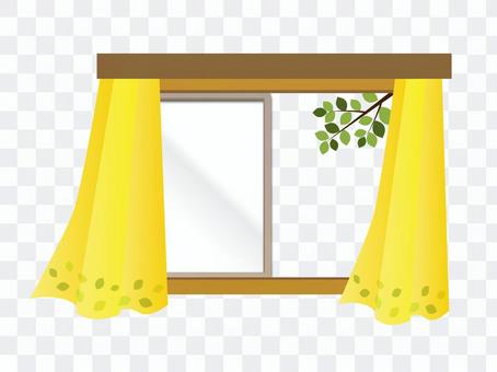 与窗帘的窗口