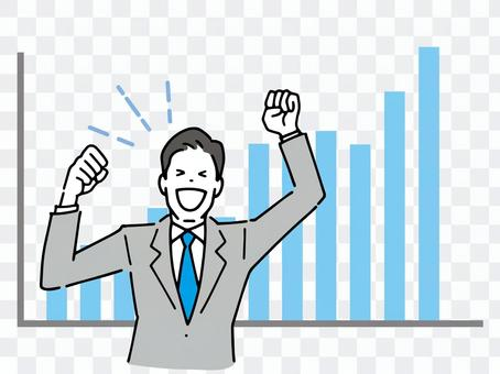 A salesman in a guts pose who is pleased with his achievements