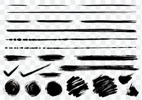 手描きの毛筆ライン素材セットパート1