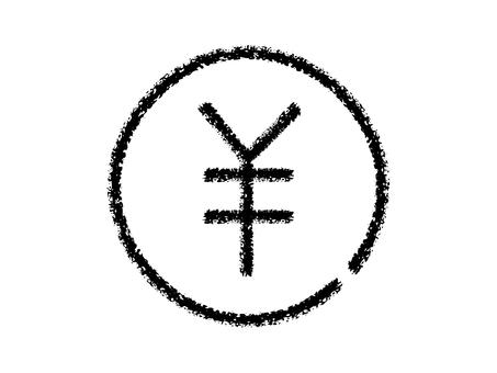 鬆散的蠟筆手寫圓硬幣圖標:黑色