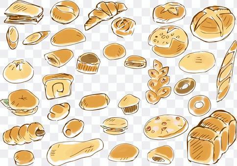 手繪麵包線描顏色