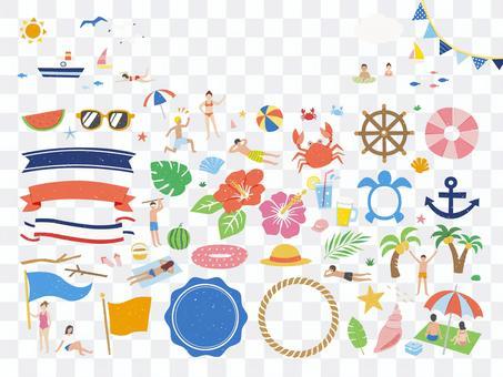 人們在夏天和海裡玩的框架
