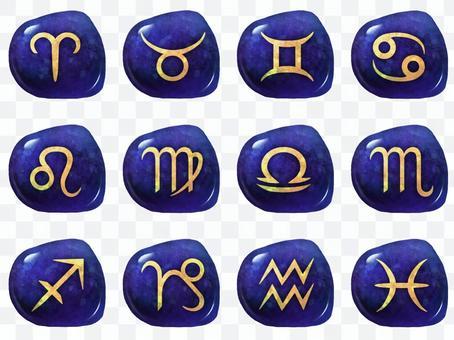 12 constellation symbol set