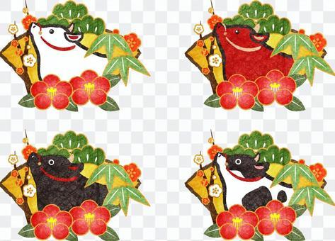 丑と松竹梅&椿の年賀状素材セット