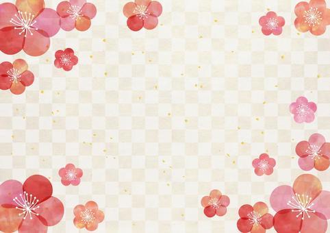 Ume_ pastel _ lattice_ Japanese paper _ background